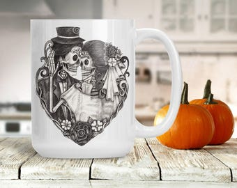 Sugar Skull Bride and Groom Mug, Halloween Skeleton Couple Cup, Bridal Shower, Engagement Wedding Marriage Present, Sugar Skull Skeleton