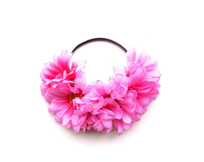 Big pink flower crown headband, statement flower crown on comfortable elastic band, perfect for festivals and bachelorette parties