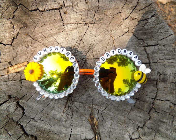 "Grateful Dead ""Sunshine Daydream"" sunglasses, hand decorated funky festival shades for LOCKN, novelty gift for Dead and Company tour"
