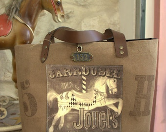 "Vintage ""Carousel"" tote bag in caramel fabric"