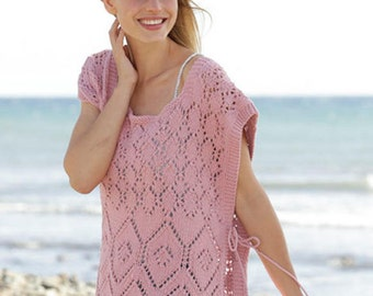 Knit poncho with fringes, Hand Knitted poncho in lace pattern Size S - XXXL .