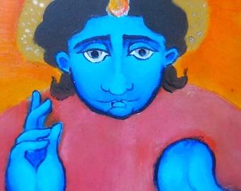 ORIGINAL folk icon Angel, bright blue and saffron