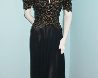 1930's Evening Gown with Embroidered Metallic Bodice Bias Cut.