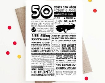 Personalized 50th Anniversary Card, 1968 Facts and Events - Custom Design