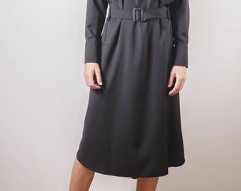Black dress/black modern dress/ black pocket dress/ midi dress/ unique dress/ lose fit dress