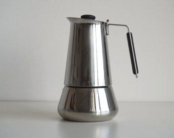 Vintage stainless steel stovetop espresso maker, Italian coffee pot for 6 cups, GB coffee maker