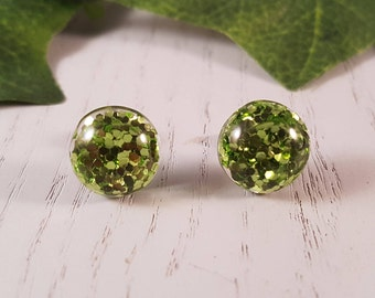 Green Glitter Button Stud Earring - Hypo-Allergenic Surgical Steel