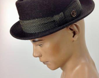 "Vintage 1950'S PORKPIE Fedora / Quality Fur Felt / by ""ADAM"" / Low Stack / Stingy Brim / Men's Size 7 1/8"