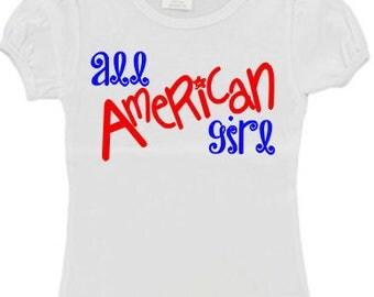All American Girl 4th of july Custom Girls Shirt