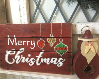 Hand Painted Red with Glitter Ornaments Merry Christmas Wood Sign