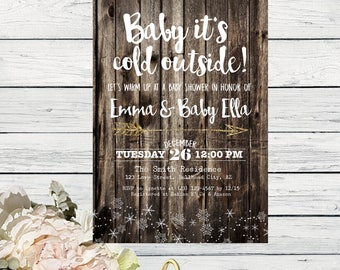 Baby It's Cold Outside Baby Shower Invite-Wooden Background***Digital File***  (Baby-ColdWoodSnow)