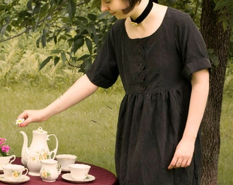 Alice Dress / Free Shipping / Black Babydoll Dress /Smock dress / lolita smock dress 90s grunge dress / oversize dress /witch summer goth