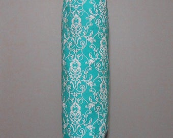 Grocery Bag Holder - Plastic Bag Holder - Bag Dispenser - Teal Scroll-Turquoise Scroll
