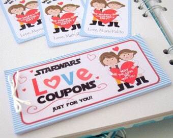 Printable Star Wars Love Coupons for Valentines Day, Husband or Boyfriend Gift, Valentine's day  D988 VALEN