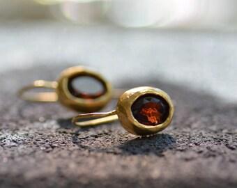 Gold garnet earrings, garnet drop earrings, red gemstone earrings, oval garnet earrings, dangle garnet earrings, January birthstone earrings