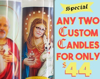 2 for 44 - Funny Prayer Candles Custom Pair - Couples Anniversary Gift - His and Her - Saint Your Pet - Funny Saint Candle - Prayer Candle