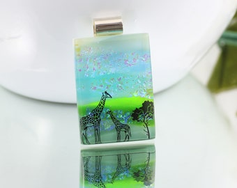 Fused Glass  Landscape Pendant-Dichroic Glass Pendant with Tree and Giraffes-Fused Glass Jewellery - Dichroic Jewelry - Fused Glass. JBT586