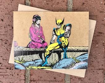 Vintage Marvel X-Men Wolverine Comic Book Greeting Card (Blank)