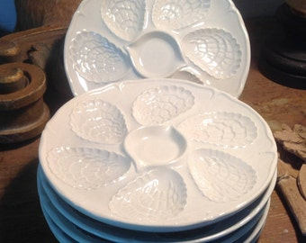 Set of 6 oyster plates from Saint Amand, France