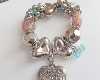 Chunky silver big hearts and bubbles with turquoise blue crystal stretch bracelet, lightweight big wrist bracelet, big bead wedding bracelet