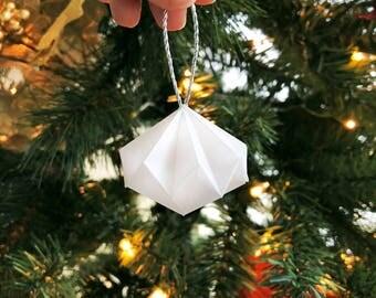 6-Pack/Dozen Small Geometric Paper Ornament, White Vellum Paper with Silver String