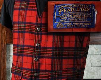 Vintage Pendleton Red Tartan wool Vest S-M see measurements