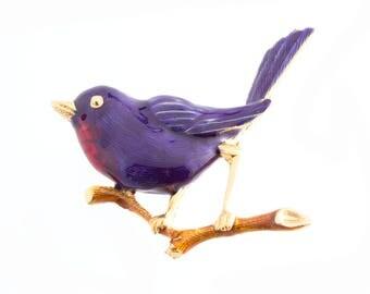 Enamel Bird Brooch