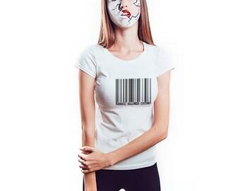 Barcode Generic Halloween Costume Shirt, Womens Tee Shirt
