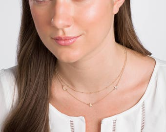 gold moon & stars necklace · crescent moon · delicate gold necklace · dainty gold gold necklace