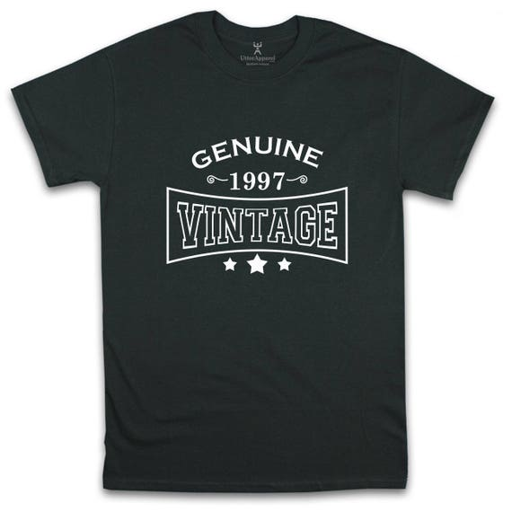 Genuine 1997 vintage crew neck t shirt 21st birthday gift son brother boyfriend nephew friend S to 2XL other colors available