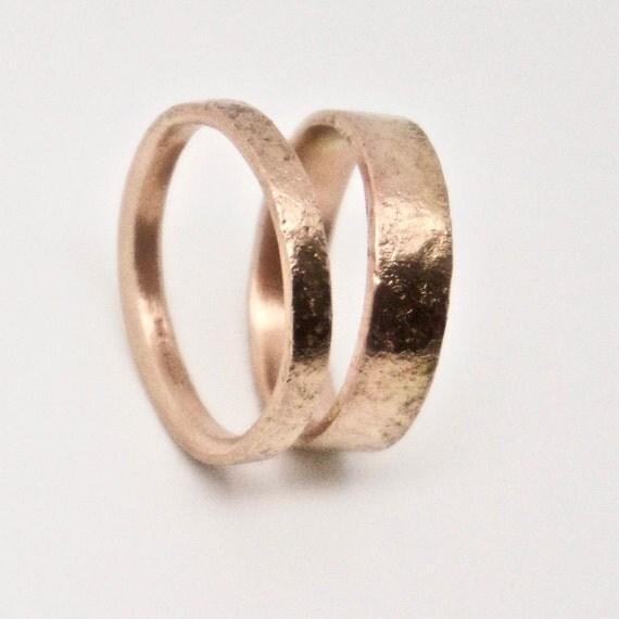 Rose Gold Distressed Texture Wedding Ring Set - 9 Carat Gold
