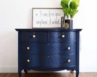 Buffet vintage etsy for Navy blue painted furniture