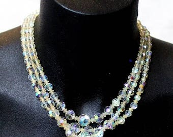 Triple strand vintage 1950's  Aurora Borealis necklace