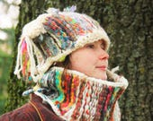 Cozy comfortable handmade woven collar snood neckwarmer, warm for winter, thick wool handspun yarn, colorful multicolored, green kaki violet