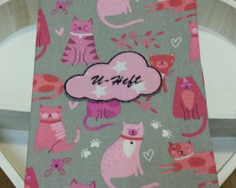 fabric cover for the german medical checkup booklet of the child pink grey cats kitten birth present baby