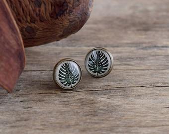 Monstera earrings, Monstera leaf earrings, Tropical earrings, Monstera jewelry, Monstera studs, Summer earrings, Hawaii earrings TJ 072