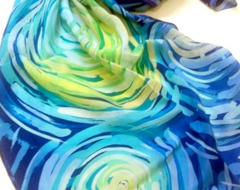 Starry sky scarf Handpainted silk Van gogh Hand painted silk scarves Silk painting Blue shawl Unique scarf Spring fashion Gifts for mom
