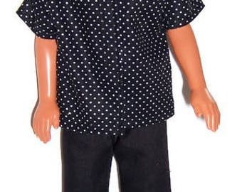 Fashion  Doll Clothes-Black/White Polka Dot Short Sleeve Shirt & Black Pants