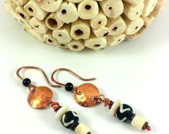 Copper disk earrings with ethnic beads
