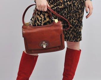 Vintage 1970s Brown Leather Satchel Shoulder Bag