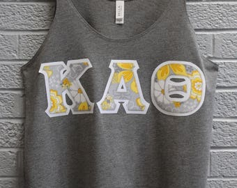 Grey Flowy Stringer Tank With Yellow floral Fabric on White ()