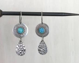 Blue opal Earrings, Sterling Silver, Opal Dangle Earrings, October birthstone, handmade silver rarrings, Opal Blue Fire