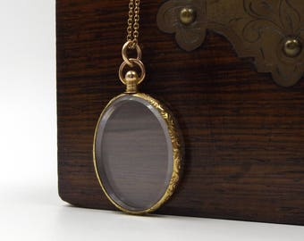 Antique 9ct Gold Locket Pendant | 9K Oval Glass Photo Locket Necklace