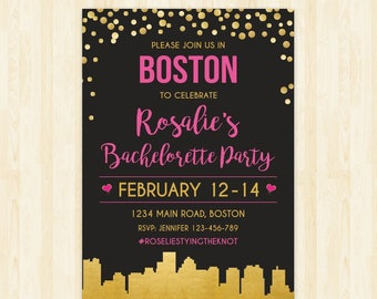 Boston bachelorette weekend invitation Boston bridal shower invitation itinerary Boston party invitation printable Boston invitation  284
