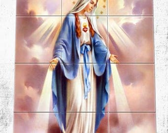Religious wall art - Our Lady of Graces - tile mural - mosaic - religious art - Virgin of Grace - Our Lady of Grace - catholic wall art