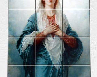 Catholic tile mural - Virgin Mary - wall art - mosaic - religious art - inspired by a catholic painting by Piotr Stachiewicz - catholic art