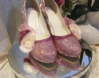 Bridal Shoes- Pearls and Swarovski Crystals