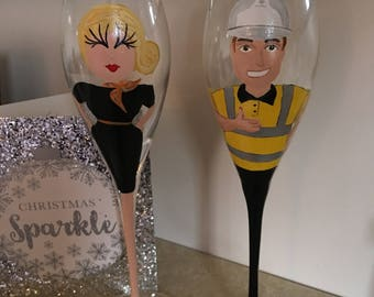 Hand Painted Wine Glass -Builder