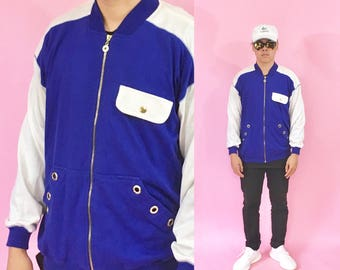 Vintage track jacket vintage windbreaker jacket 90's jacket size medium blue jacket 1990s 1980s cotton jacket