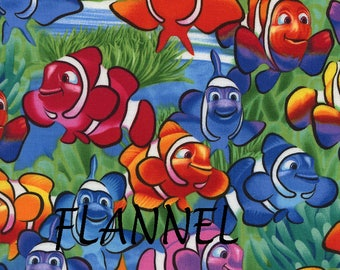 Clownfish Flannel Fabric, Fish Baby Quilt Flannel, Timeless Treasures CF1824 Michael Searle, Colorful Cotton Flannel Yardage